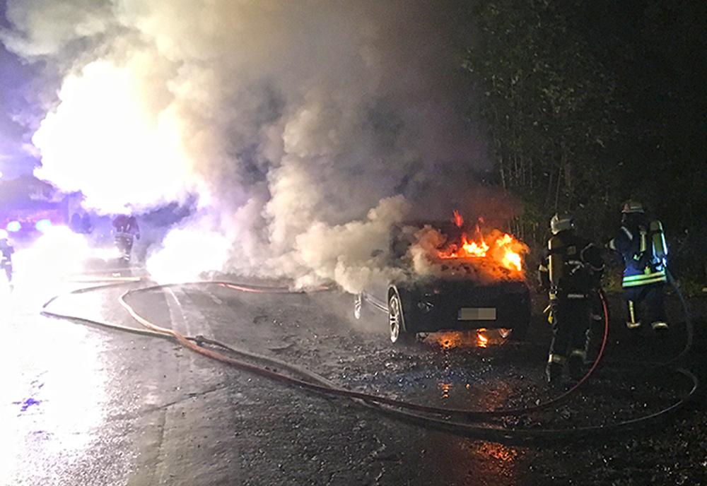 BMW geht in Westerhöfer Wald in Flammen auf